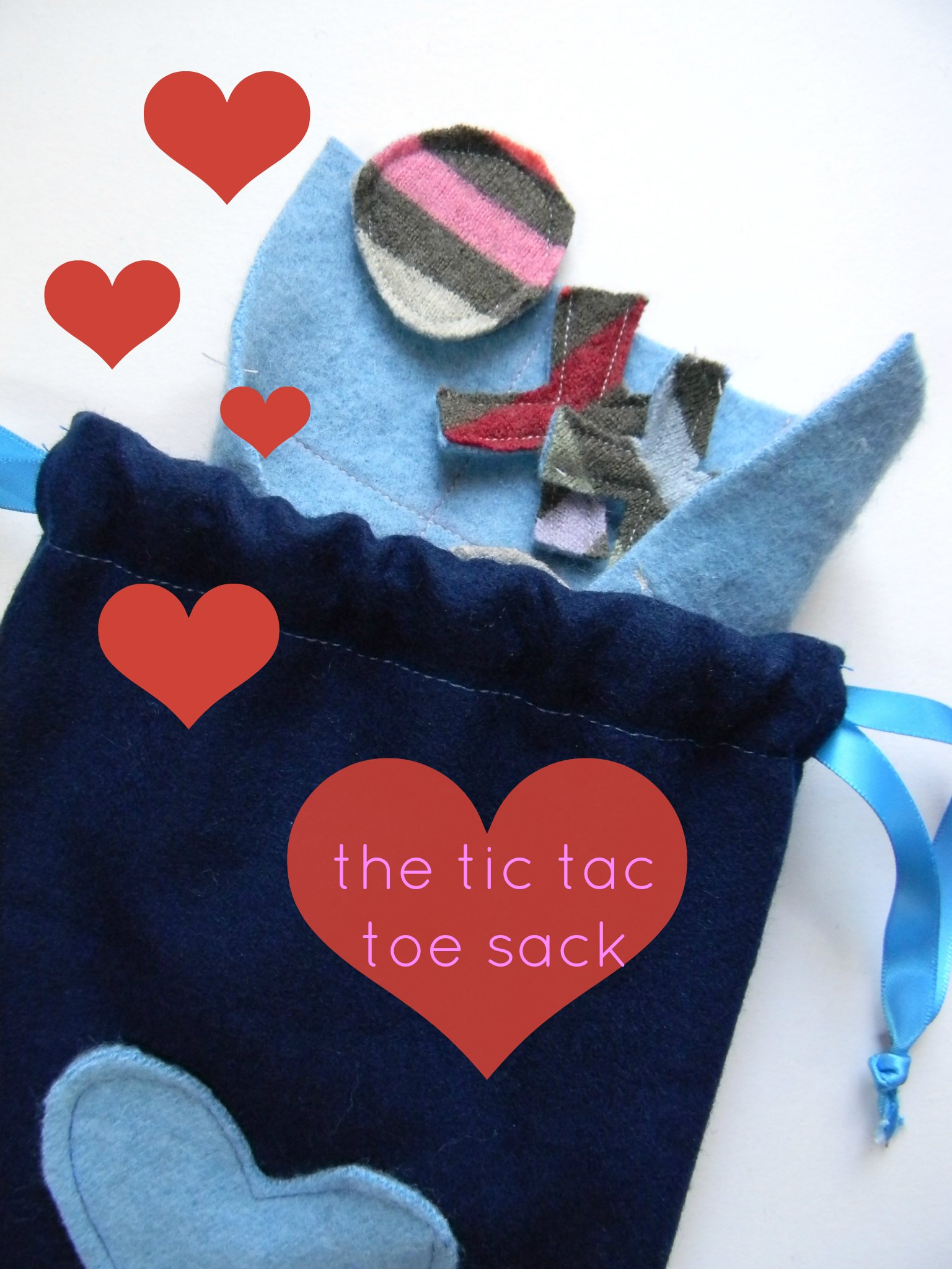 the valentines tic tac toe sack a happy stitch. Black Bedroom Furniture Sets. Home Design Ideas