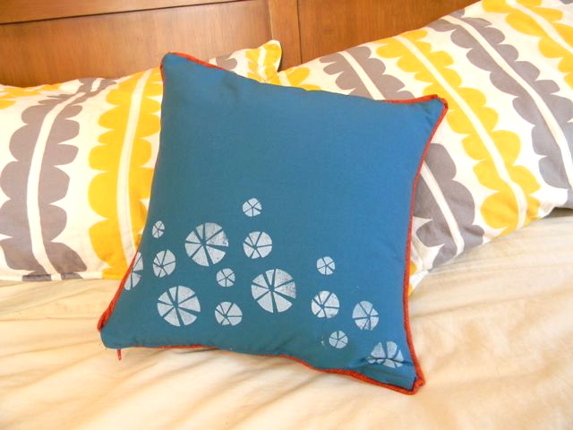 hand stamped pillow in action