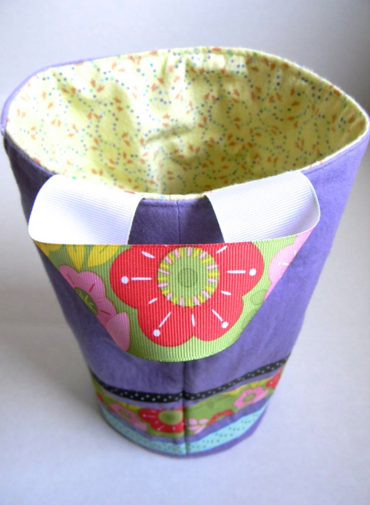 easter fabric bucket with handle