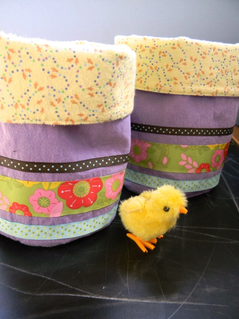easter fabric bucket with chick