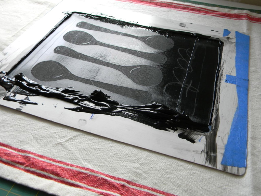 screen printing-process design by a happy stitch