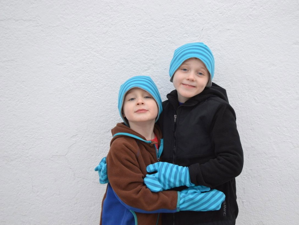 loving the hats and funky mitts in knit fabric from a happy stitch