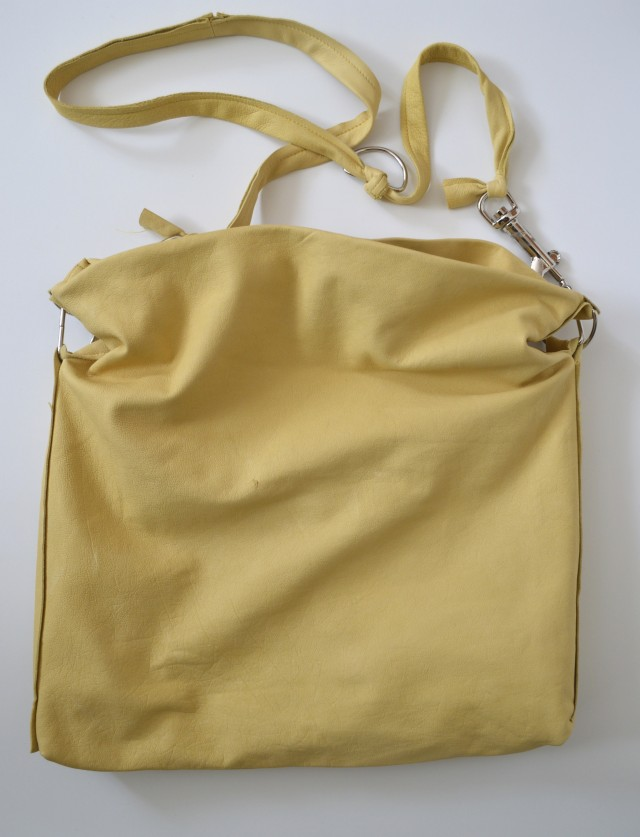 buttery yellow leather bag from weekend sewing - made by a happy stitch