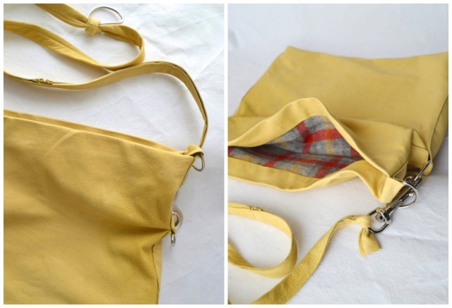 butter yellow leather bag from weekend sewing made by a happy stitch