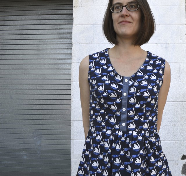 swan dress from deer and doe pattern- made by a happy stitch