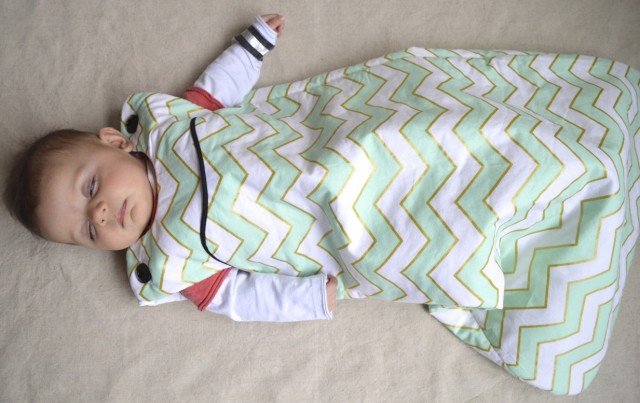 lua sleep sack in mint and gold chevron (made by a happy stitch)