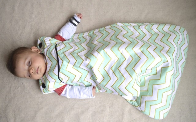 lua sleep sack in mint chevron (Made by a happy stitch)