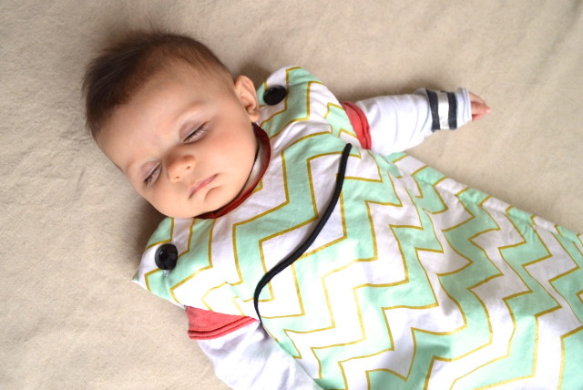 lua sleep sack in mint and gold chevron (Made by *a happy stitch*)