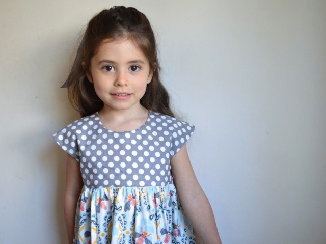 cutest geranium dress in honeybees and polka dots | made by a happy stitch