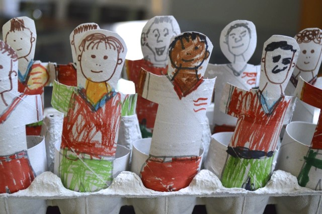 soccer players made out of TP rolls