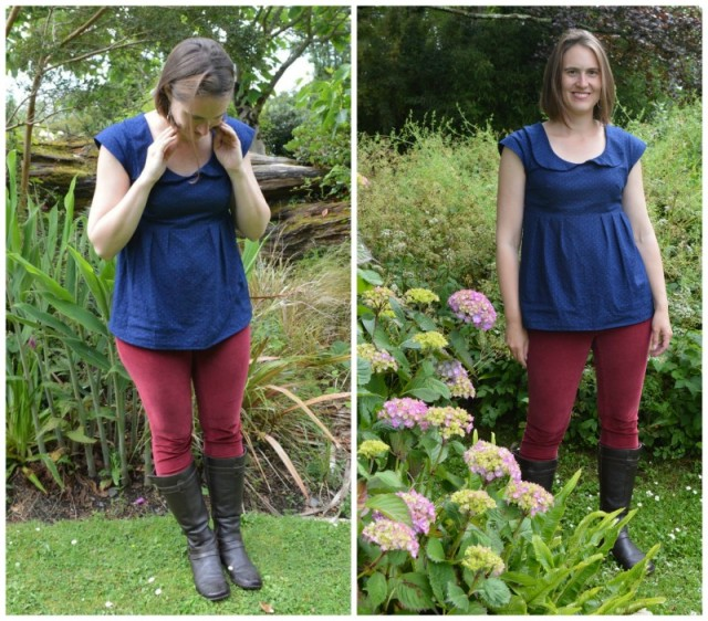 Lovely indigo-dyed, woven fabric Washi tunic with a peter pan collar | made by a happy stitch