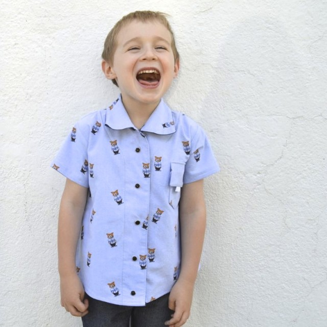 Upcycled Fox button-up top for boys | Pattern from Perfect Pattern Parcel #4, The Maxwell Top made by a happy stitch