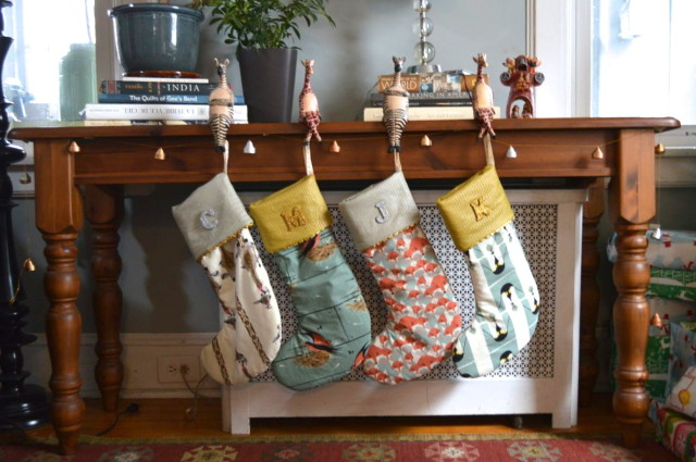 Silver & Gold Charley Harper Christmas Stockings by a happy stitch