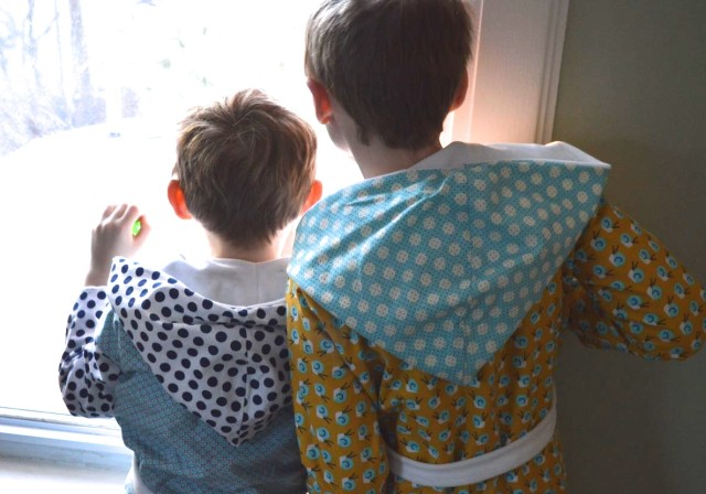 Cozy Winter Robes for Boys | Made by Melissa Q. at a happy stitch