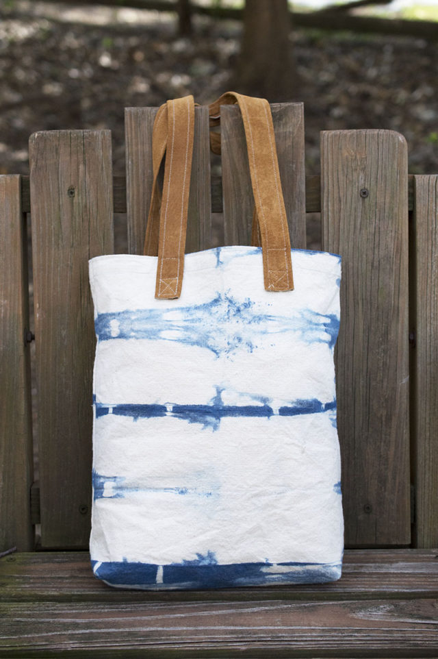 Indigo Tote Bag with Leather handles | a happy stitch