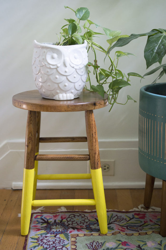 Yellow Legs on a Decorative Step Stool _ Home Design | a happy stitch project
