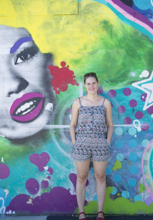 Asbury Park mural and a fancy pants romper | a happy stitch