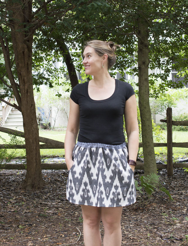 Ikat Woven (accidental) skirt in Black | a happy stitch