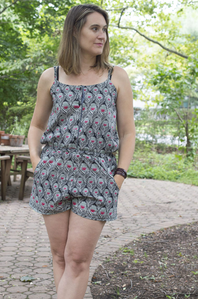 Romper Hack in Peacock Print | a happy stitch