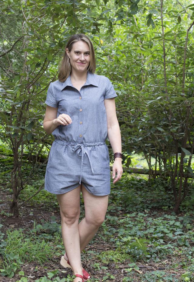 Sanibel Romber (Hey June pattern) in Light Denim   sewn by a happy stitch