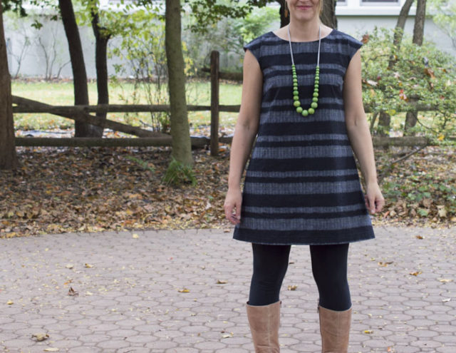 My Esme Tunic -Striped Woven Japanese fabric | sewn by a happy stitch