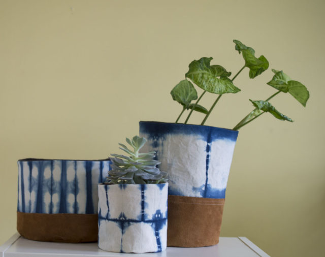 Other Reasons to Sell at a Craft Market! Connections and Creative Fire :: Leather Indigo Fabric Buckets by a happy stitch