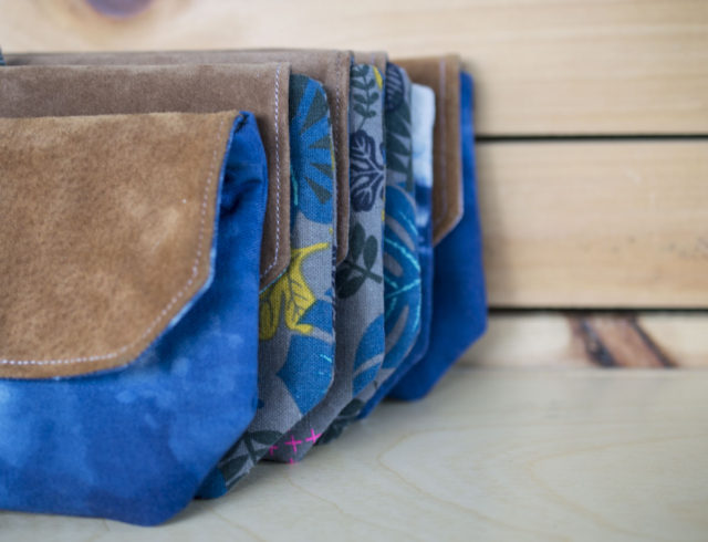 Other Reasons to Sell at a Craft Fair! Indigo and Linen Clutches-by a happy stitch