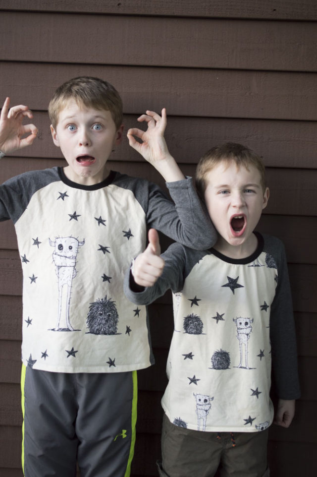 Awkward Monster Pajama Shirts | sewn by A Happy Stitch