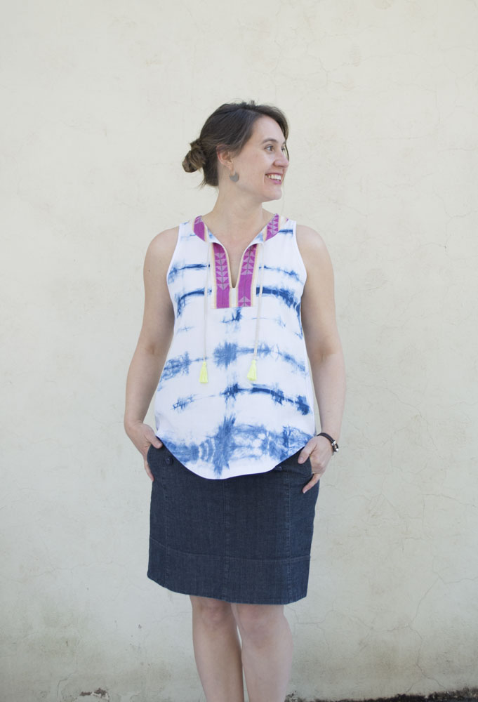 Bohemian Trevi Top :: With a contrast yoke and bright yellow tassels || sewn by a happy stitch
