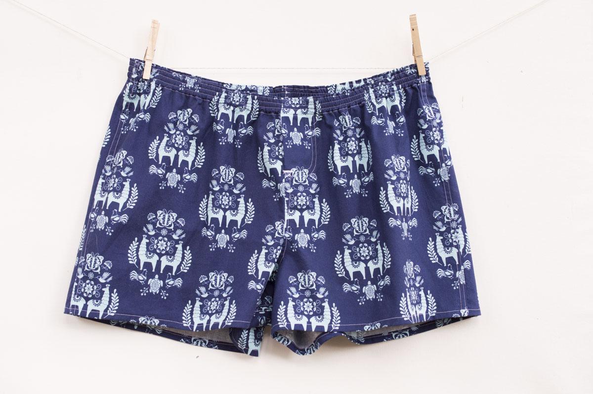 Men's Boxer Shorts [Free Pattern + Juxaposey llama Fabric]