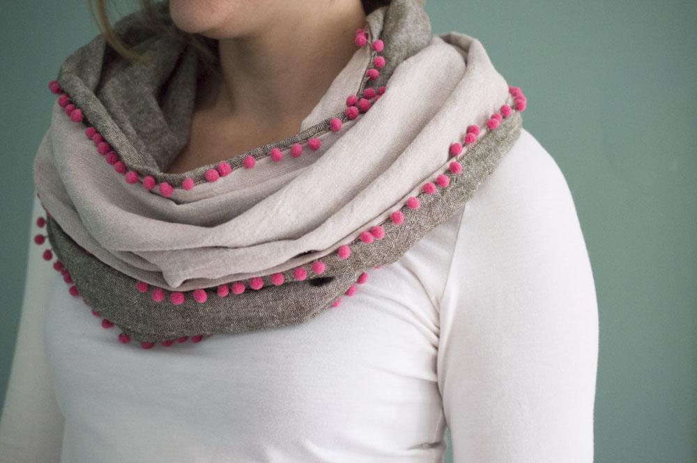 DIY :: Make a Linen and Pom-Pom Infinity Scarf