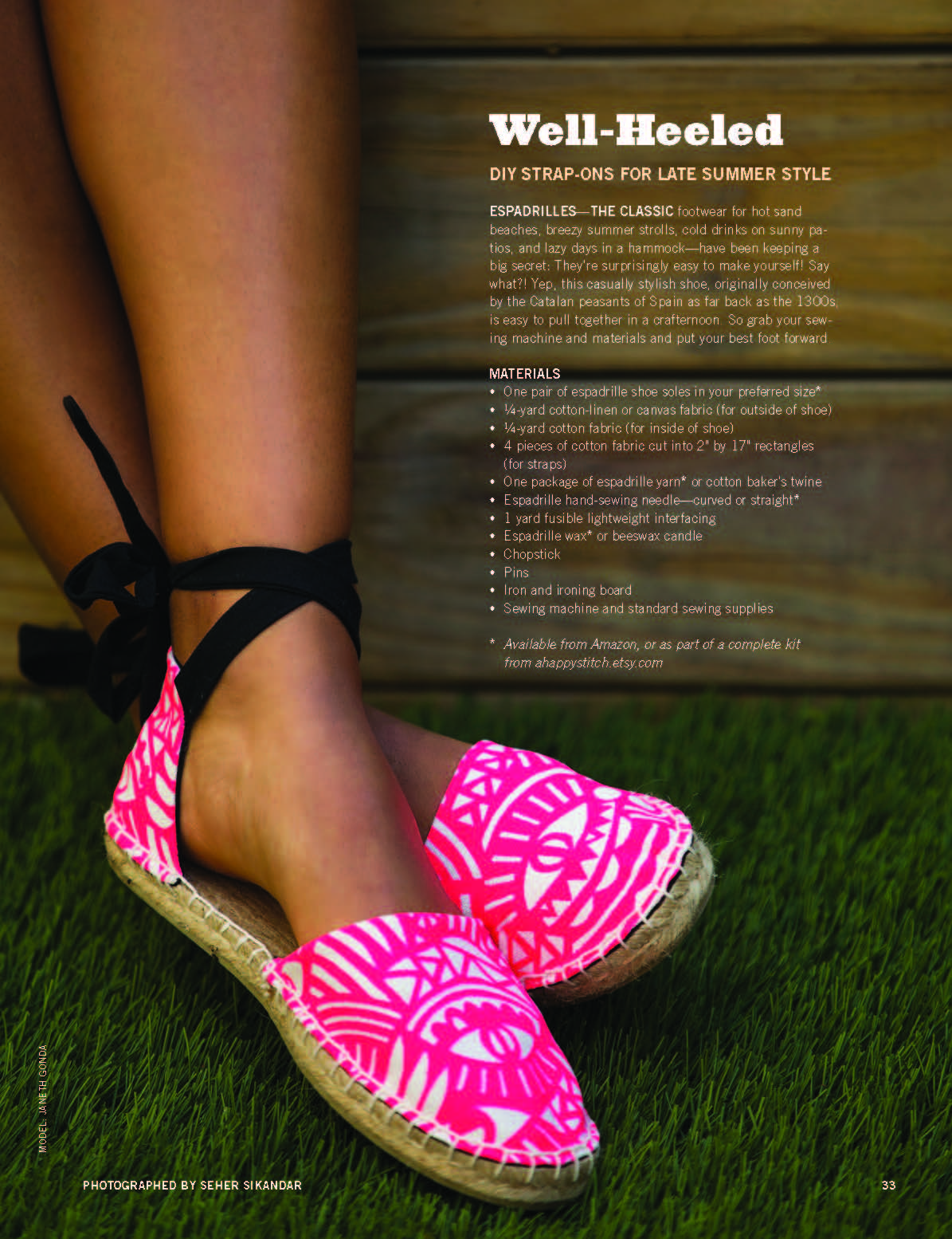 Strappy Espadrilles for BUST magazine || Designed by A HAPPY STITCH