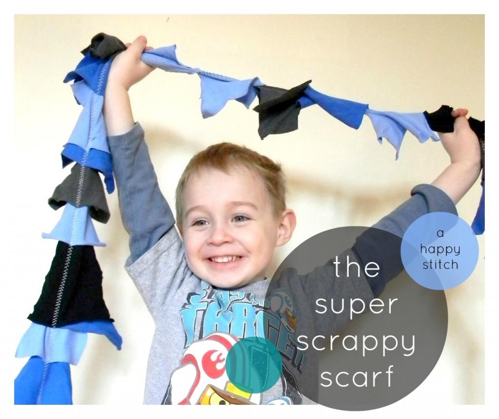 super scrappy scarf from a happy stitch
