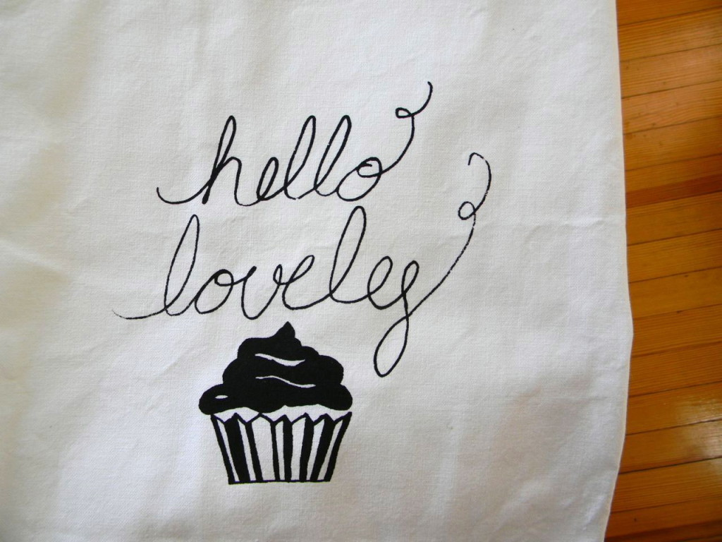 hello lovely apron with cupcake