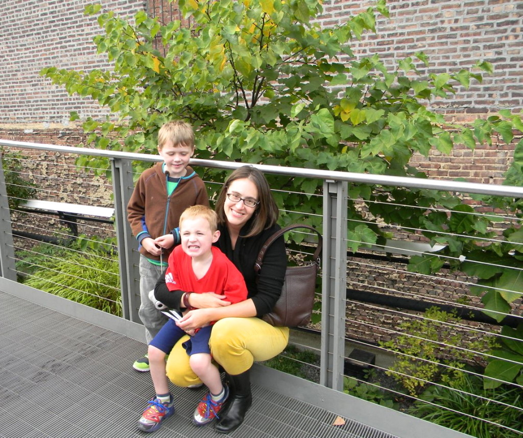 a happy stitch with her crew on the high line