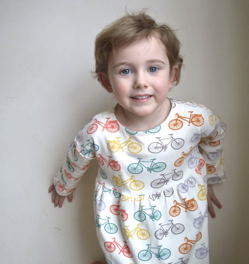 T in the playtime dress and leggings from Oliver + S