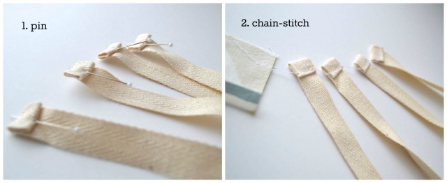 Chain-stitching the twill tape