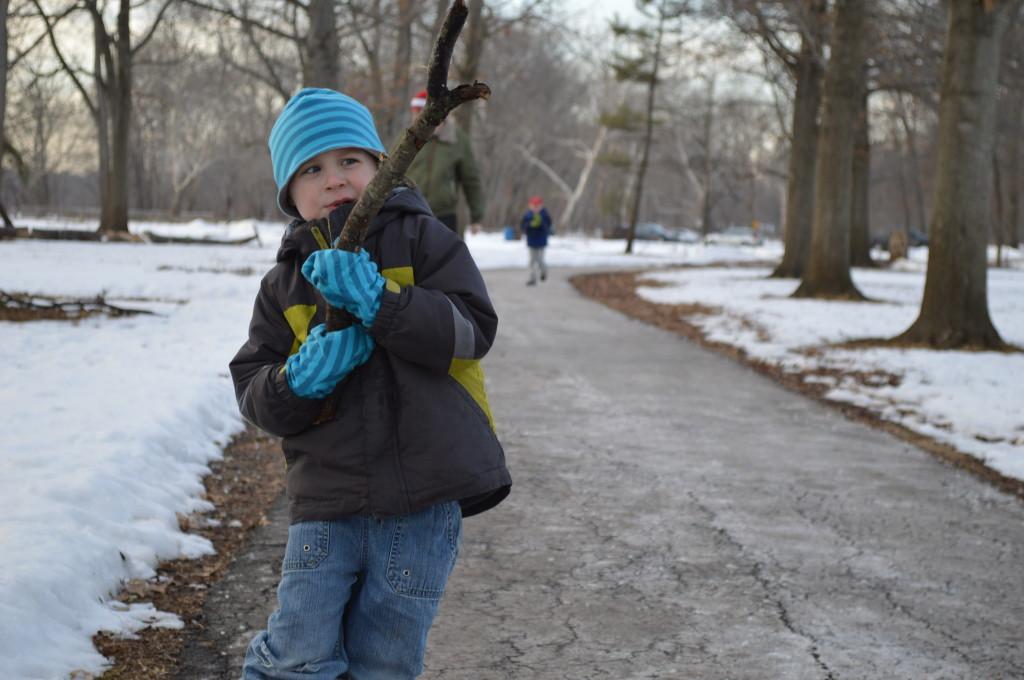 winter walking boy