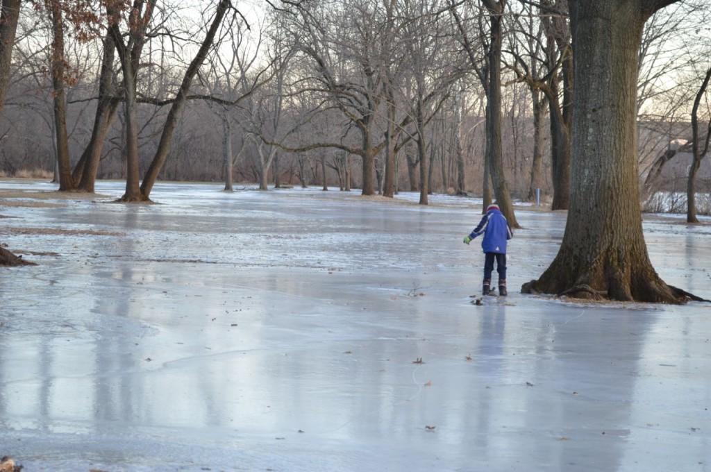 winter walk on ice