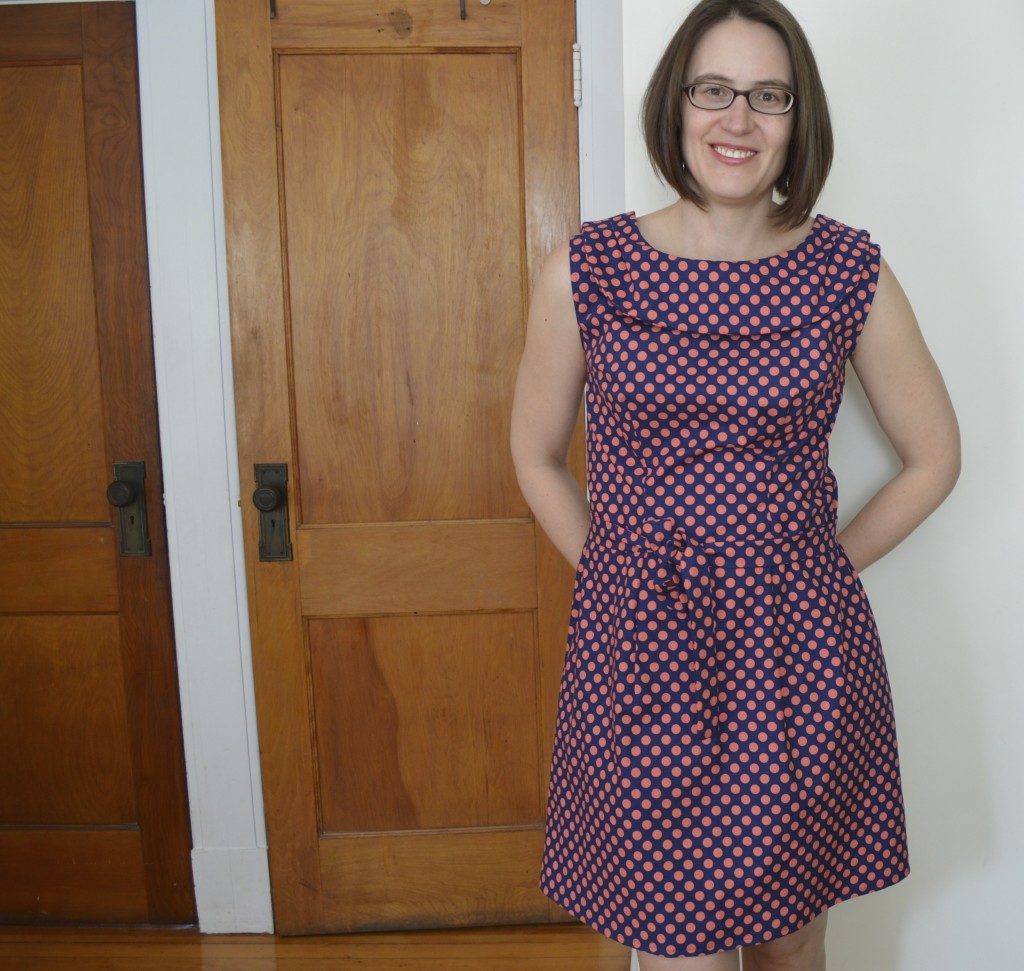 licorice dress in coral & navy dots - a happy stitch