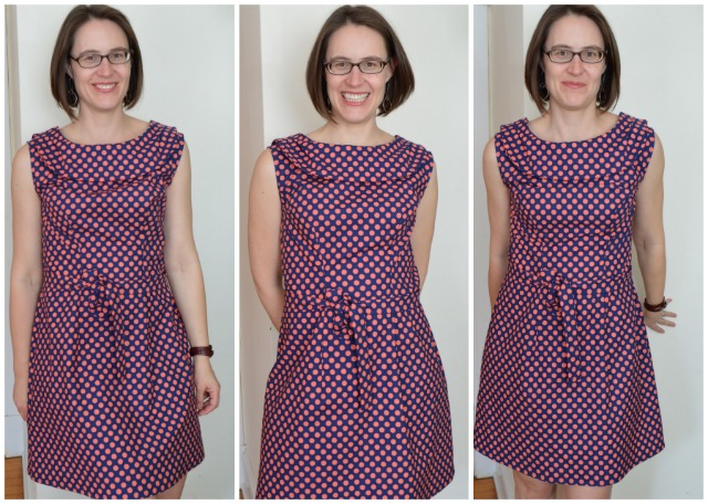 licorice dress in coral and navy