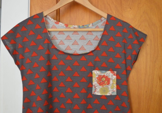 Red Triangle on Grey knit dress with a tiny Liberty pocket | made by a happy stitch, pattern by Skirt as Top
