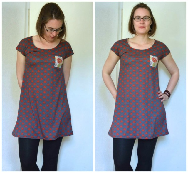 tennis dress in red triangles with a tiny pocket