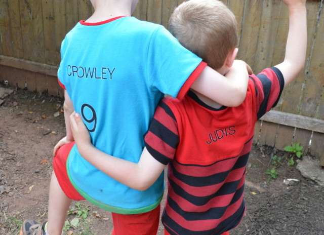 Kid designed soccer outfits for a boys imaginary world | made by a happy stitch for kid's clothes week