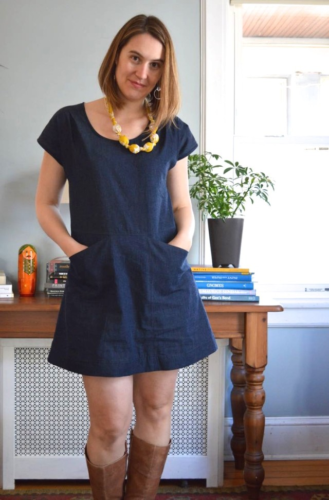 Alder Bess Mashup Dress in Demin  | a happy stitch