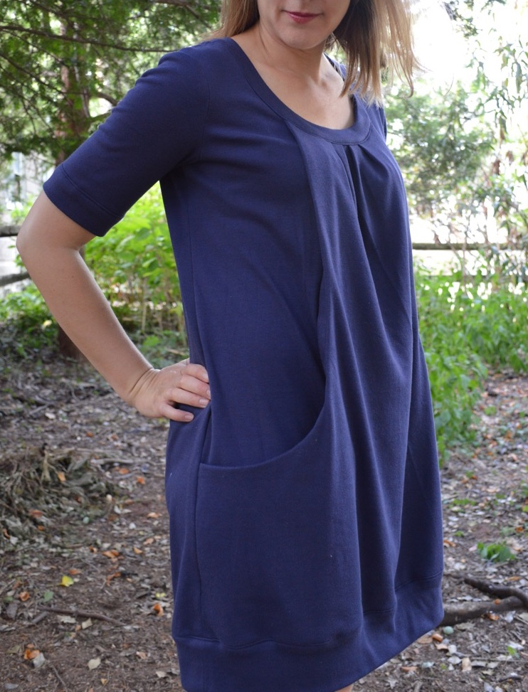 Pocket Full of Posies knit dress sewing pattern by Blank Slate Patterns sewn by A Happy Stitch