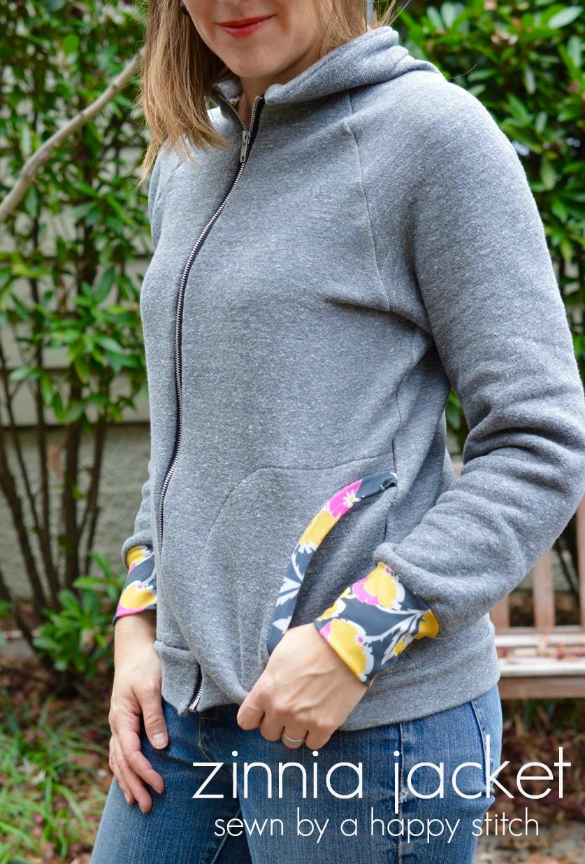 Zinnia Jacket - sweatshirt sewing pattern by Blank Slate Patterns sewn by A Happy Stitch - Melly Sews