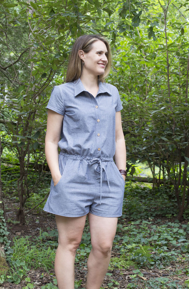 Sanibel Romber outfit in lightweight denim (hey June pattern) | a happy stitch