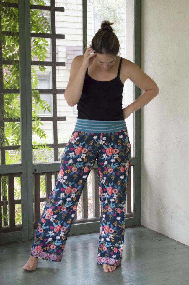 Perfect Lounge Pants!! Les Fleurs Rayon Lounge Pants with ribbon trim sewn by a happy stitch