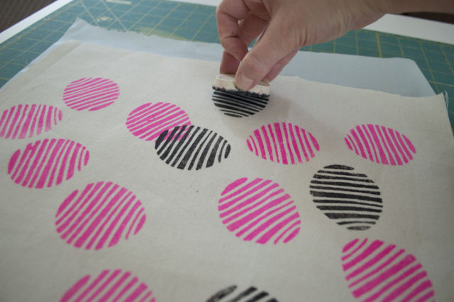 Hand-Stamping process! Print designed and made by *a happy stitch*